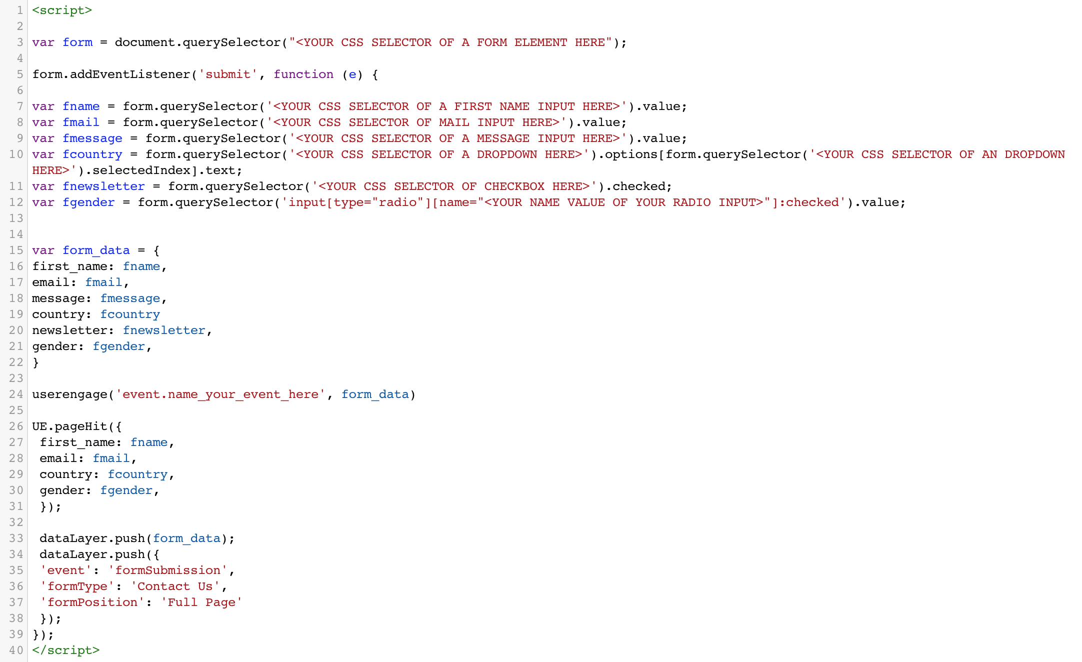 Scanning website forms with GTM and User com | User com Documentation